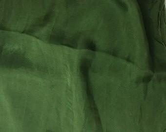 Hand Dyed SPINACH GREEN Soft Silk Organza Fabric - 1 Yard
