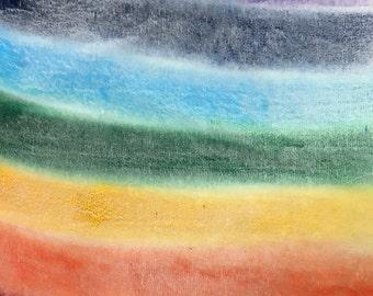 Hand Painted WHITE Silk Velvet Fabric - Bold Rainbow