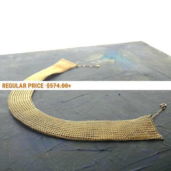 Holiday Sale - Cleopatra gold necklace unique bridal jewelry made of crocheted wire