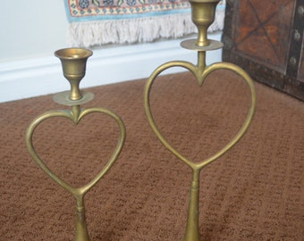 Two (2) Vintage Brass Heart Candle Holders Taper Candle Sticks Valentines Day Romantic