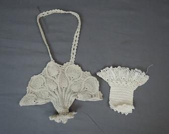 Vintage 2 Crochet Baskets, Handmade 1950s Linens