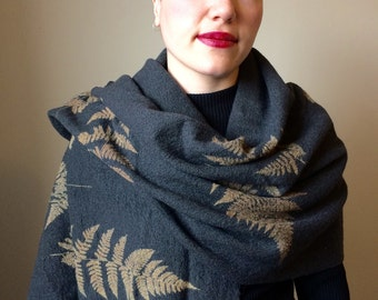 Boiled Wool Scarf/Shawl with fern print