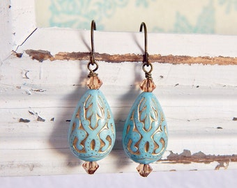 Eloise - french blue and gold paisley earrings - teardrop earrings - blue earrings - rustic earrings - boho earrings - sky blue earrings