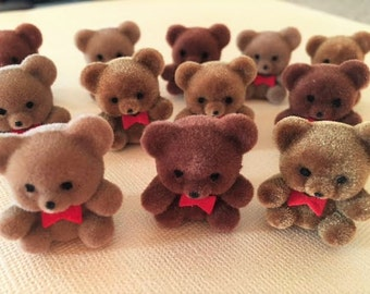24 Flocked Fuzzy Brown Teddy Bears 1 inch Toppers Embellishments Gift Wrapping Mini