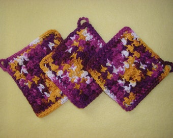 Three Bumpy Cotton Washcloths Dishcloths, handmade crochet washcloth set, Batik