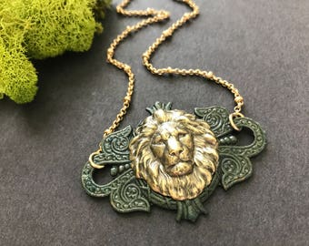 Lion Necklace Lion's Mane Animal Jewelry Lion Head Wildlife Jungle Animal Zoo Animal Mystic Green Antique Brass Majestic Lion Lover Gift