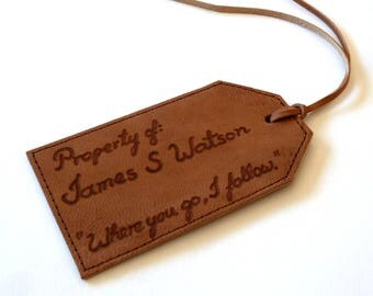 Personalised Leather Luggage Tag, Dark Brown
