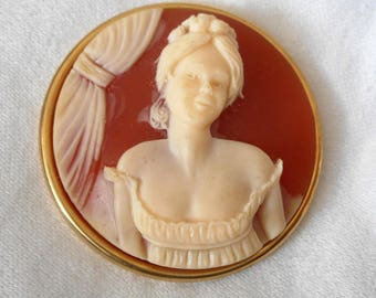 Large Cameo Woman in Gold Metal Handmade Studio BUTTON