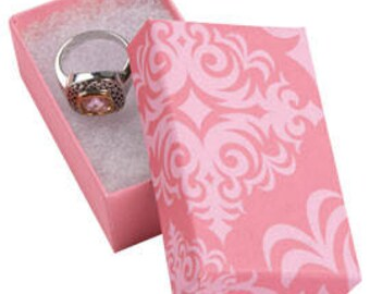 50 Pack of 2.5X1.5X7/8 Inch Size High Quality Pink Damask Cotton Filled Jewelry Presentation Boxes
