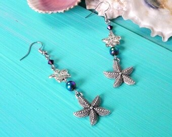 starfish charm & bead earrings - mermaid earrings, mermaid accessory, purple, mulit-coloured