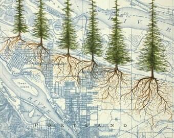 Portland Roots painting on vintage map, Portland city art, Oregon painting print, Portland Heritage Trees
