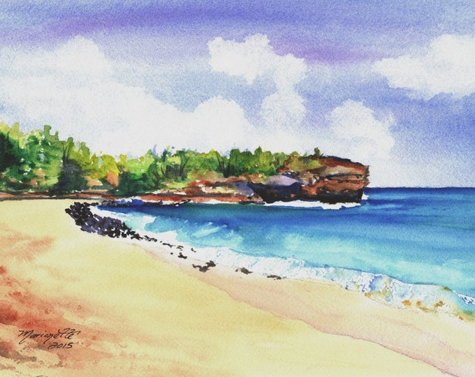 Shipwreck's Beach Kauai,  5x7 Art Print, Hawaiian art, seascapes, Hawaii Kauai Paintings, ocean waves, ocean beach paintings, shipwrecks art