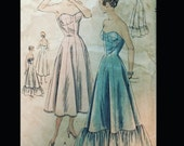 Vintage 50s Strapless Sweetheart Neckline Princess Seamed Long Cocktail Length Full Slip Pattern 6725 B32