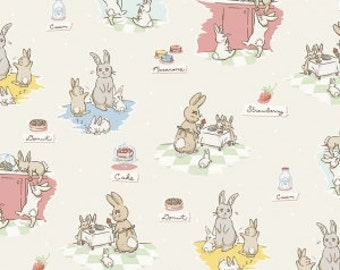 Bunnies and Cream, By Lauren Nash Bunnies Main Cream C6020-Cream