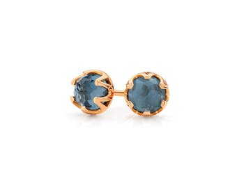 Crown Stud Earrings set with rose-cut London Blue Topaz Gemstones