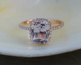 Engagement ring Peach Champagne Sapphire Engagement Ring emerald cut 14k rose gold diamond ring 4.15ct sapphire engagement ring