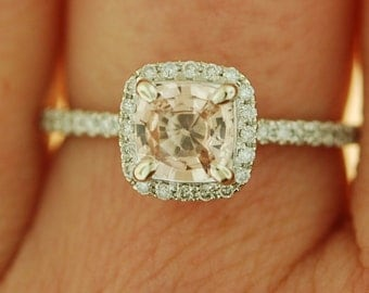 White Gold Engagement Ring. 0.7ct Peach Sapphire cushion halo engagement ring 14k white gold.
