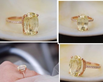 9.76ct Blake Lively ring Yellow Sapphire Engagement Ring oval cut 14k rose gold diamond ring  Lemon sapphire ring by Eidelprecious