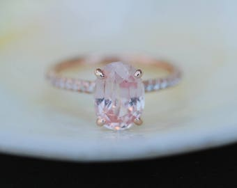 Rose gold engagement ring. Oval Engagement ring. Blake Lively ring Peach sapphire ring 2.54ct oval sapphire diamond ring by Eidelprecious