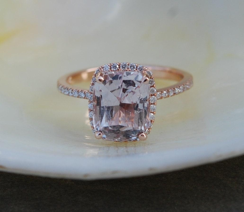 Engagement Ring Peach Champagne Sapphire By EidelPrecious