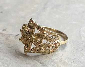 Hamsa ring, gold filled ring, brass hand ring, simple ring, dainty ring, statement filigree ring, against the evil eye - Wake Up Call R2248