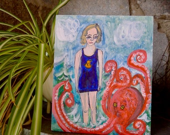 Gertrude, Queen of the Waves.  Original oil painting by Vivienne Strauss.