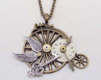 Steampunk jewelry vintage bicycle necklace pendant.