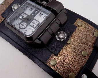 Steampunk watch. Leather cuff watch. Biker watch.