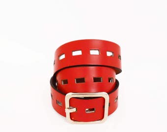 80's vintage RED LEATHER cut-out belt // wide boho belt y GARAY // gold tone buckle