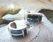ON SALE... Vintage Mexico Sterling Turquoise Lapis Malachite Inlay Huggie Hoops Earrings