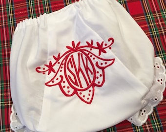 Heirloom Embroidered Monogram Christmas Bloomers Diaper Cover Panty Baby Child