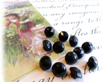 12 Black GLASS Vintage Buttons for Sewing Crafts Scrapbooking Cardmaking Jewelry