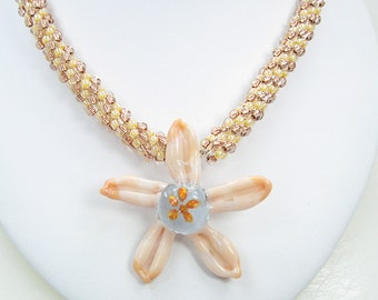 Handmade Beaded Kumihimo Necklace with Lampwork Starfish Pendant.   Peachey Sands