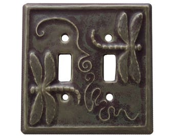 Dragonflies Double Toggle Light Switch Cover in Purple Gray Glaze