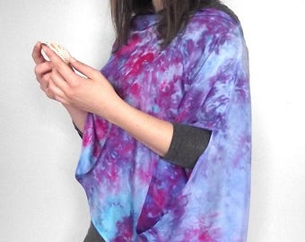Hand Dyed Silk Asymmetric Wrap / Scarf - Blue, Fuschia and Purple Shibori - Over 5 Ways to Wear it!