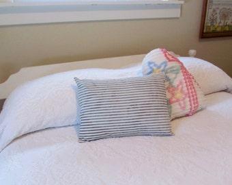 Indigo Blue and White Vintage Ticking Pillow - Shabby Farmhouse Cottage