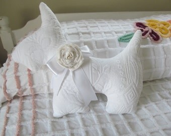 Westie Scotty Dog Pillow Upcycled Vintage White Matelasse with Fabric Rose Pin Brooch Shabby Cottage