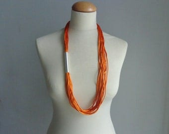Orange silver tube necklace, long orange necklace