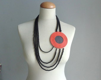 Black orange statement necklace long necklace leather necklace big circle necklace