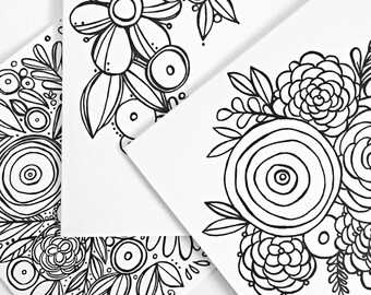 At the Flower Shop Coloring Cards (set of 6)