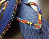 Autism  Awareness Flip Flops, Autism Awareness Shoes, Autism Awareness Flip Flops , Autism Support Sandals , Autism Awareness Sandals Shoes
