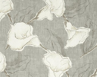 Dove Grey Calla Lily Floral Drapery Panels - Pair/ 2 Panels - Magnolia Home Fashions Calla Dove Fabric