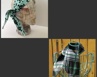 Mad for Plaid or Mint Love Skulls Flannel Tie Up Head Wrap or Ascot Neck Scarf Your choice of one