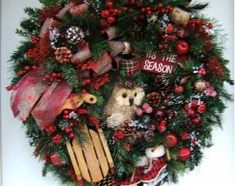 XL Country Christmas wreath, Primitive Owl wreath, door wreath, Winter wreath, Snowman, Merry Christmas wreath