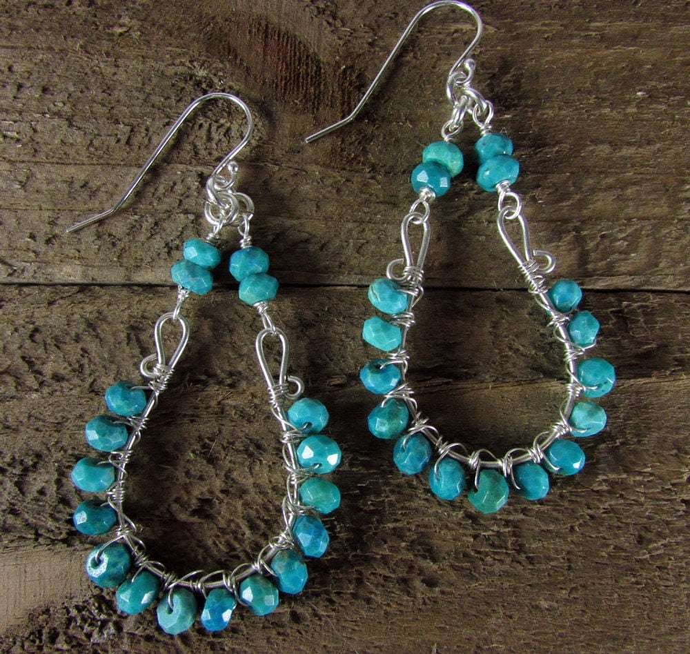 Turquoise Chandelier Earrings Sterling Silver Green Turquoise Statement  Jewelry Wire Wrapped Turquoise