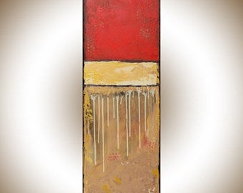 Abstract landscape painting original art red gold black painting on canvas art wall art wall Decor home decor wall hanging by qiqigallery