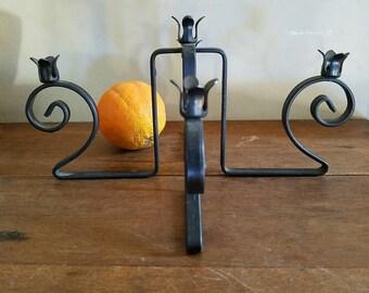 60s Wrought Iron Candelabra/Centerpiece, Slim Tapers