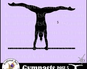 Female Gymnasts Silhouettes Pose 5 - 1 Vinyl Ready Images SVG EPS PNG clipart graphics and Small Commercial License {Instant Downloa}
