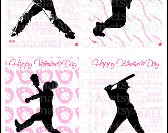 Valentines Day Cards Softball set 1 Girls - for kids class exchange DIY Printing Valentine silhouettes JPG & PDF {Instant Download}