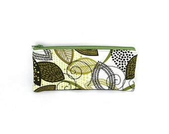 Pocket Zipper Case, Change Purse, Card Case, Coin Purse, Olive Green Leaves 8657